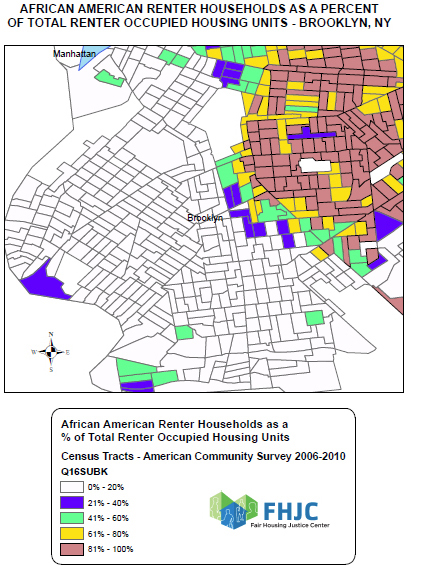 Map shows African American renter households as a percentage of total renter occupied units in Brooklyn, New York.