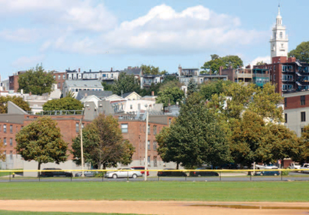 Mixed-income developments integrated among other housing and a park in South Boston.