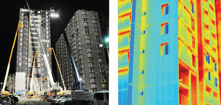 "Before and After: The infrared image on the right highlights the effectiveness of weatherization. The area of blue shows where metal panels have been installed; the ""blue"" is cold air kept outside the building. The area of reds and yellow, where the plates have not yet been installed, show heat and energy escaping from the building."
