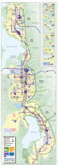 The Wasatch Choice for 2040 Vision Map displays the land uses called for in the plan, but also the different regional growth features: growth centers (blue and purple areas), mixed-use corridors (blue and purple lines), and regional greenways and connections to population centers (dark and light green arrows, respectively).