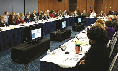 Secretary Shaun Donovan leads a HUDStat meeting in Washington, DC.