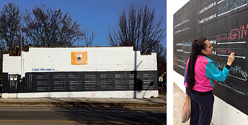 "An abandoned store in Lansing, Michigan with its front painted as a chalkboard on which community members may write their ideas for giving the building a new use. An adjacent picture shows a woman writing ""Food Bank"" as a suggested reuse."