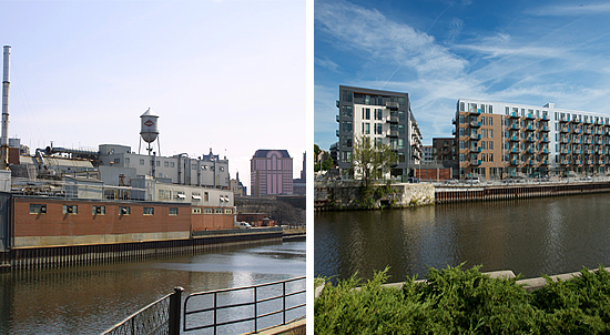 An example of successful brownfield redevelopment, the former Pfister & Vogel leather tannery (left) is now the site of The North End apartments along the Milwaukee River in downtown Milwaukee, Wisconsin (right).