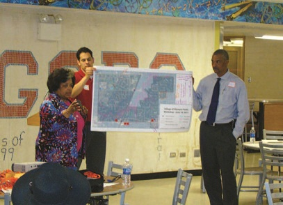Residents of the Village of Olympia Fields, a south suburb of Chicago, participate in an interactive workshop organized as part of Homes for a Changing Region, an initiative led by the Metropolitan Mayors Caucus and Chicago Metropolitan Agency for Planning.