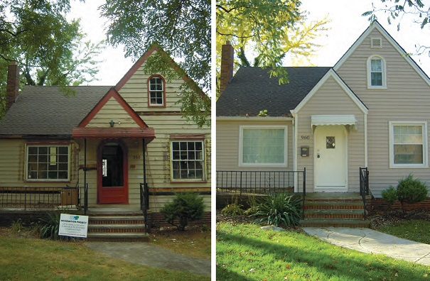 A before and after picture of a bungalow bought in disrepair and renovated.