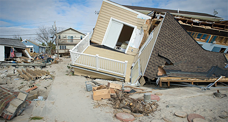 A house severely damaged during Hurricane Sandy.