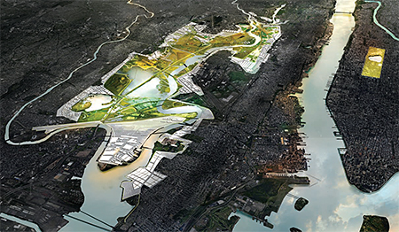 This rendering depicts an aerial view of New Meadowlands, a winning Rebuild By Design proposal.