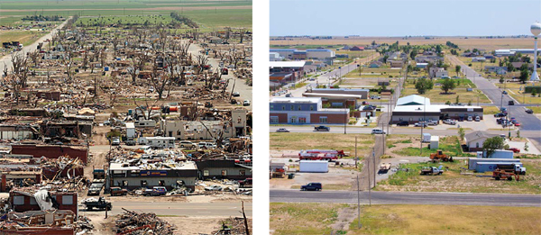 Aerial photos of tornado destruction of a town and of its buildings and streets once rebuilt.