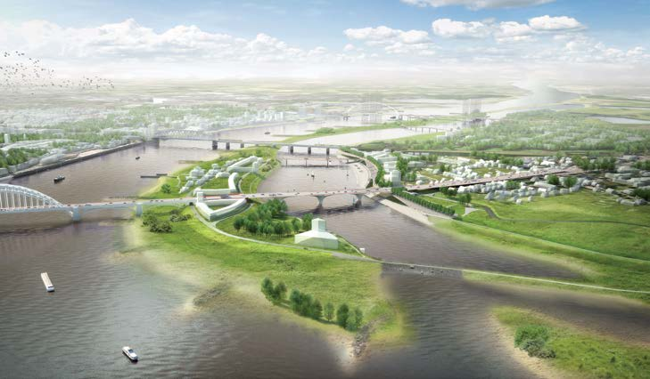 Rendering shows an aerial view of proposed flood resilience measures to protect the cityof Nijmegen.