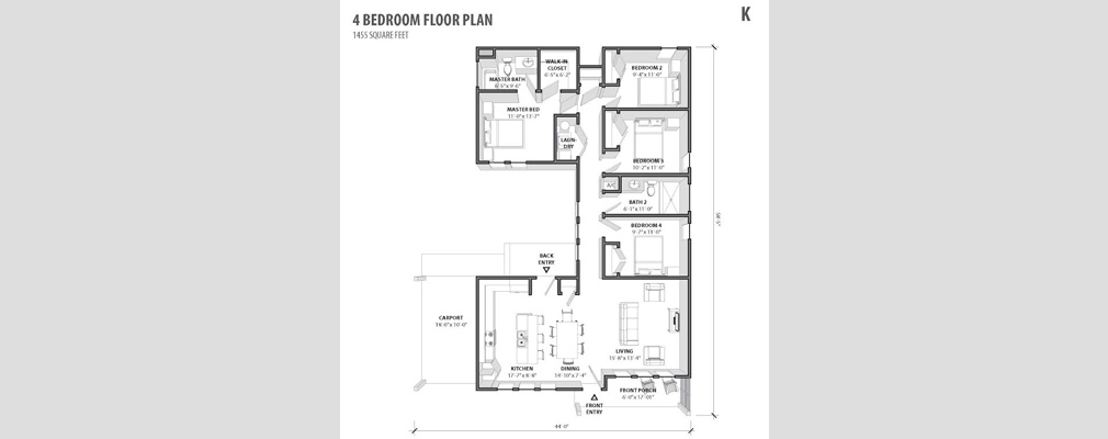 Cross-section from the housing catalogue of a floor plan for a four-bedroom house.