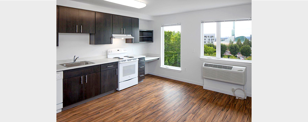 Photograph of the kitchen of a new, empty apartment.