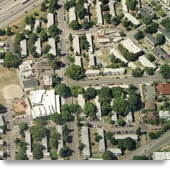 Aerial photograph of the original Yesler Terrace housing complex before redevelopment.