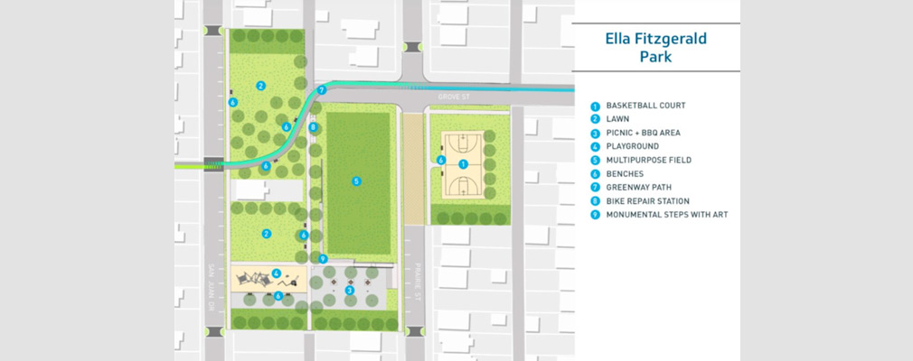 "Aerial photograph of portions of several neighborhood blocks overlain with a rendering of a park, named ""Ella Fitzgerald Park,"" and with a list of park features."