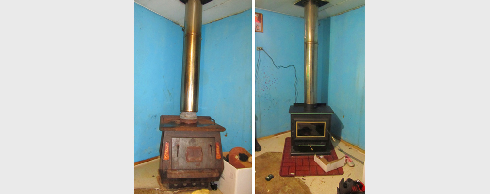 Two photographs of the interior of a home, one with a rusted heating stove with a poorly fitting chimney (left) and the other with a newly installed stove (right).