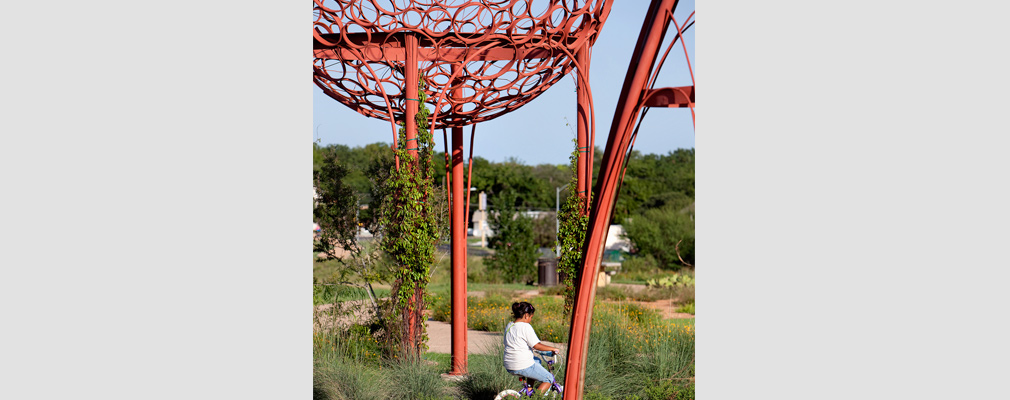 Photograph of a Mueller resident bicycling in a park with native plants and public art.