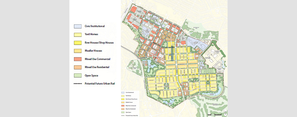 A rendered plan showing the location of land uses on the redeveloped airport site.
