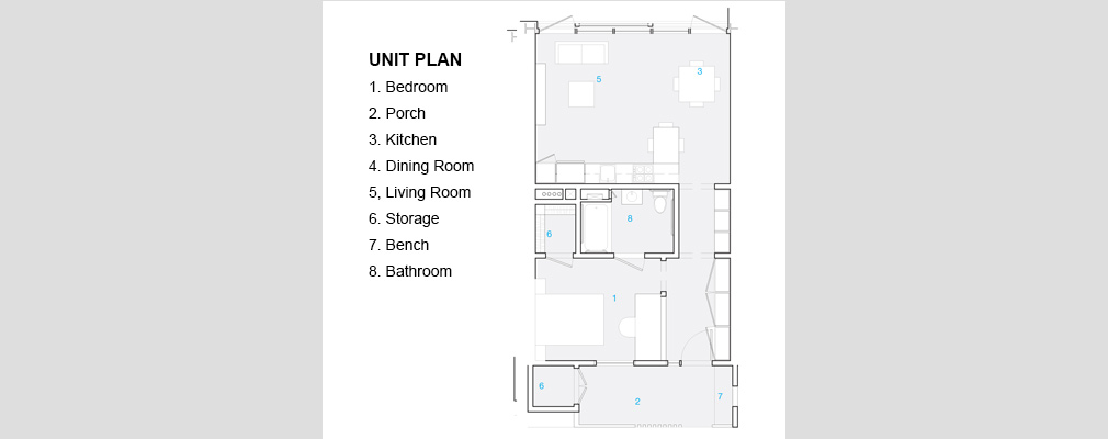 "Each one-bedroom apartment includes a ""front porch"" that overlooks the building's courtyard."