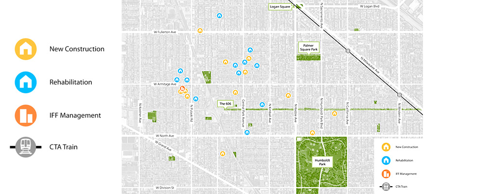 Map of project sites located between Logan Square and Humboldt Park.