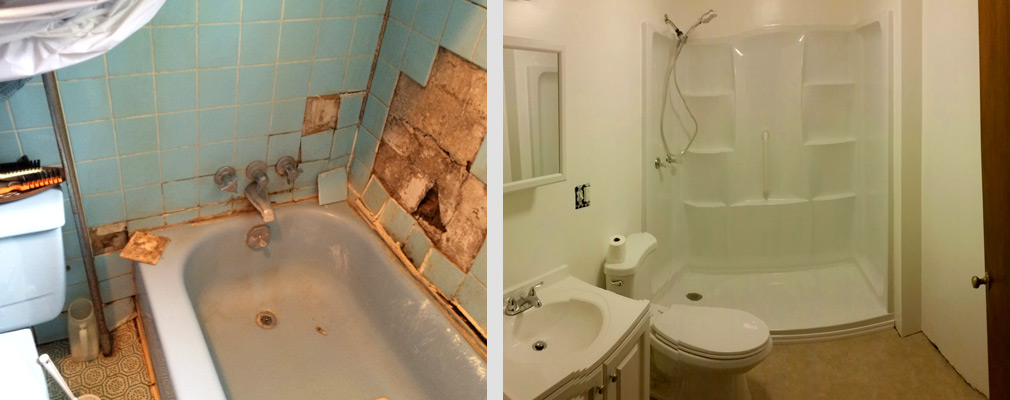 Before-and-after photographs of a bathroom in disrepair (left) and a renovated bathroom (right).