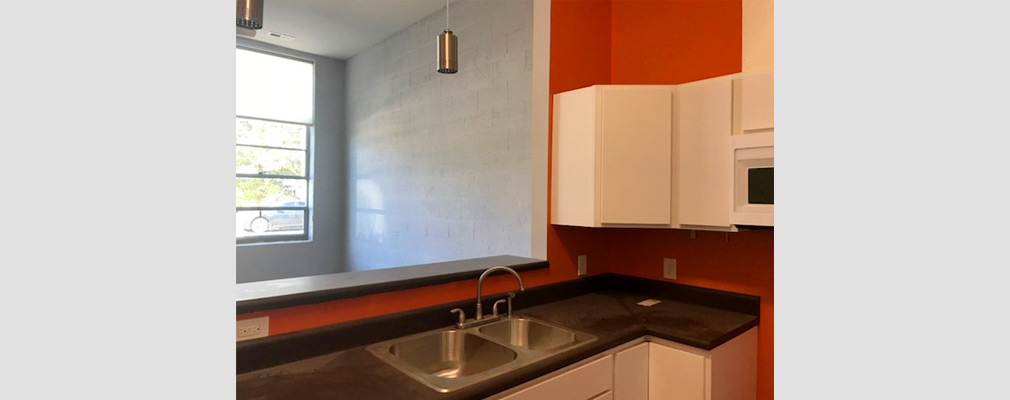 Photograph of a kitchen sink and two cabinets beside a half-wall opening to the living area of a renovated apartment.
