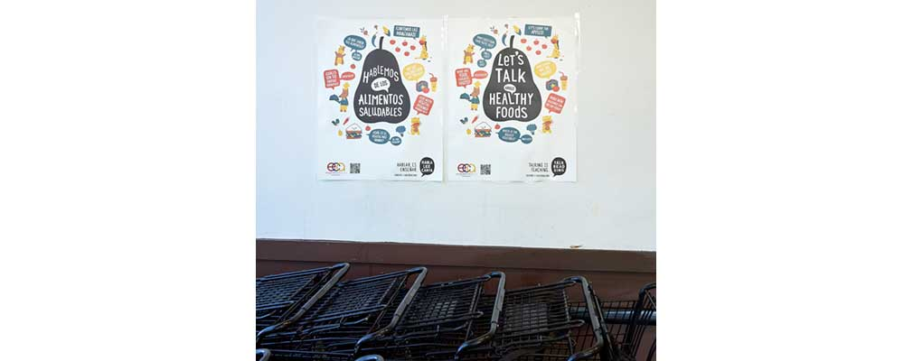 "Photograph of two posters hanging on a wall above shopping carts that say ""Let's talk about healthy foods"" in English and in Spanish."