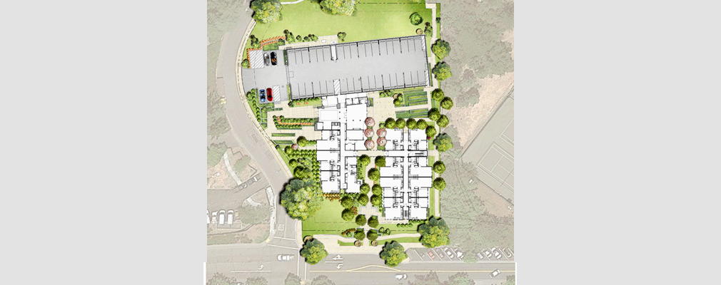 Rendering of the first-floor plan and site improvements on top of an aerial photograph of the Monteverde site and abutting properties.