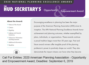 Call For Entries: 2020 American Planning Association - Opportunity and Empowerment Award Deadline: September 6, 2019