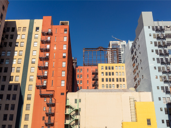 Image of several multistory apartment buildings.