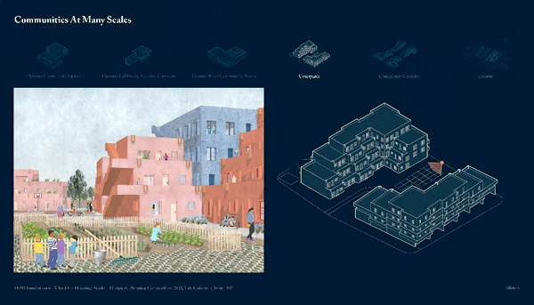 Presentation slide showing a rending and 3D building plans of 2 buildings.
