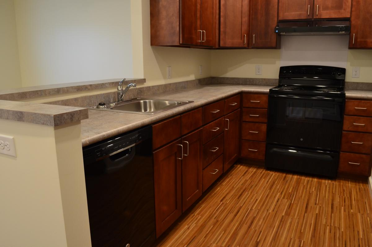 A kitchen with a dishwasher, sink, stove/range, and cabinets in one of the residential units.