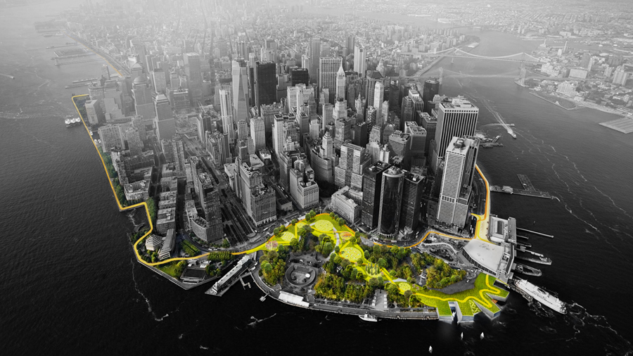 Low angle aerial rendering of the Manhattan sky-line featuring a proposed natural space along the city's waterfront.