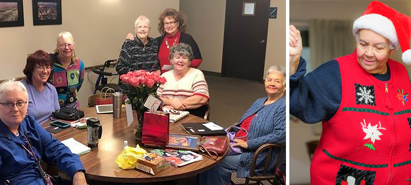The 2019 group of Rogue River Estates residents who participated in the It Just Takes 1 Writing and Mentoring classes (left), Frida demonstrates the epitome of social connectedness, inclusiveness, and community building at the annual holiday party (right)