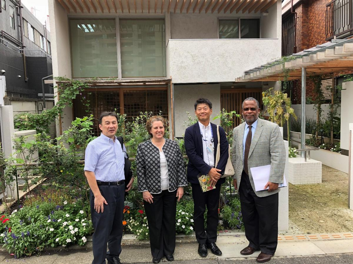 Japan Visit Sep 2018 Outside Senior Center- Cindy Campbell and Calvin Johnson