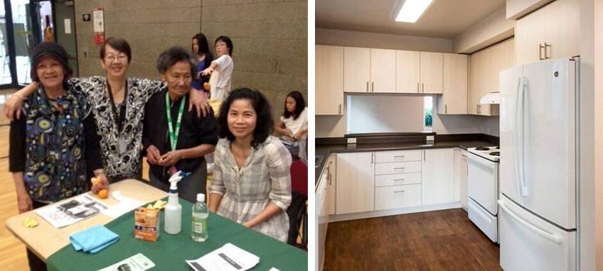 Women staffing the Yesler Terrace healthy homes desk at a health fair (left). Renovated Yesler Terrace kitchen (right).