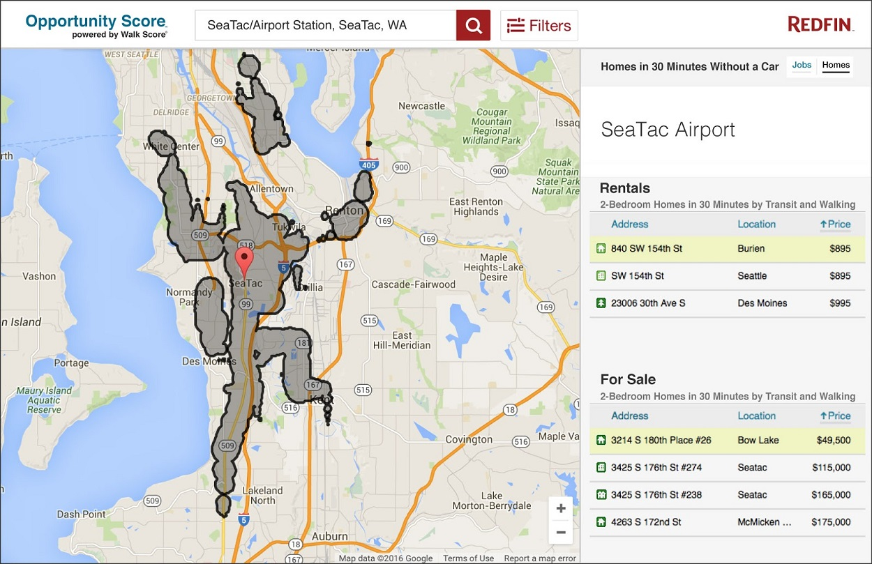 Map from Redfin's forthcoming Opportunity Score tool showing affordable homes available within a 30-minute commute of a Seattle, Washington, workplace without a car.