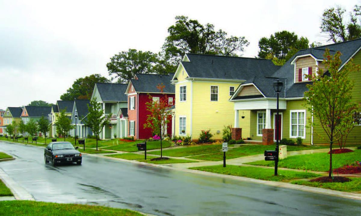 A row of single-family homes.