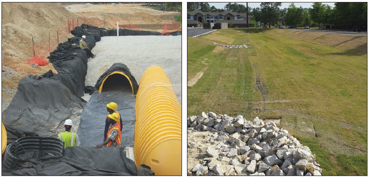 Two photos showing workers installing yellow pipes below a layer of gravel and a sloped grass field.