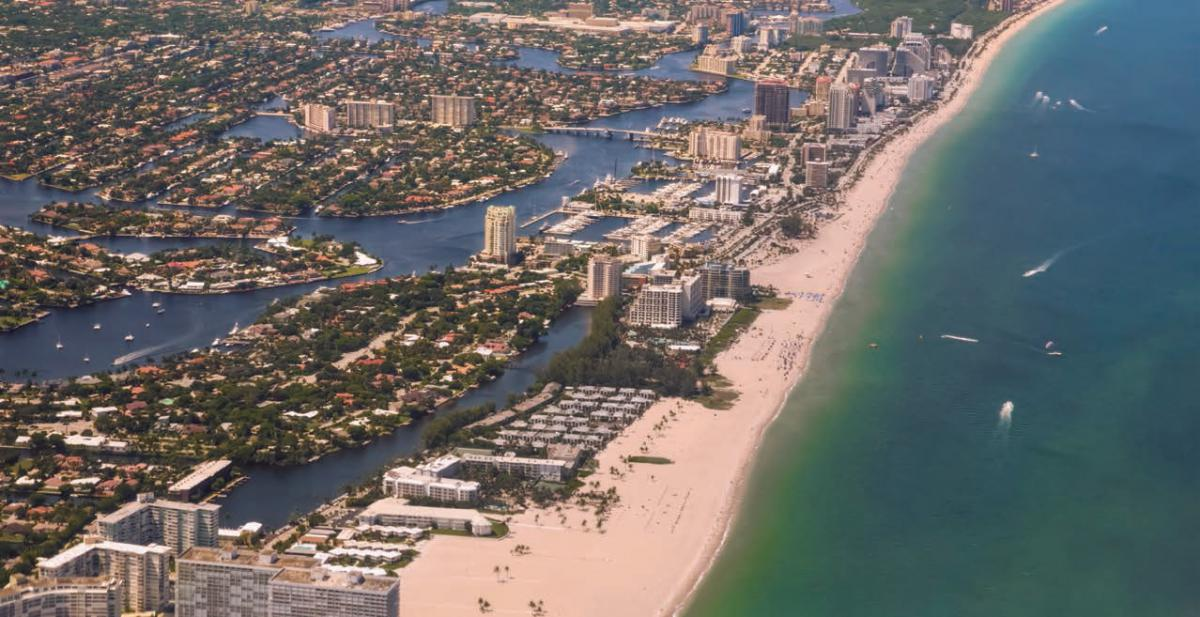 An aerial view of a coastal city in southeast Florida.