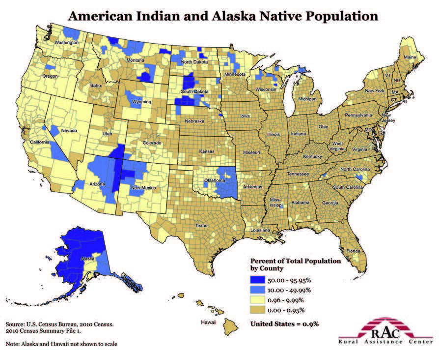 A map of the United States showing the concentration of American Indian and Alaska Native Population.