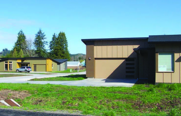 A view of houses in Tillamook subdivision built by the Siletz Tribal Housing Department.