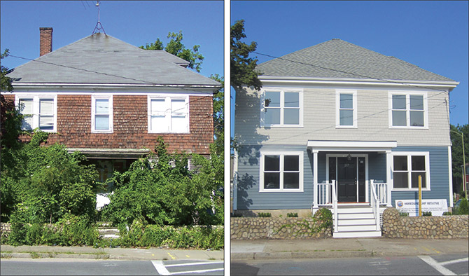 Photo of a vacant single-family home with overgrown plants in the front. Photo of the single-family home after renovation.
